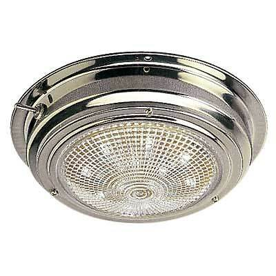 """Boat Marine RV 4"""" Stainless Steel LED Dome Light Glass Lens Built in Switch"""