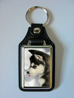 Siberian Husky Puppy Design No 1 Leather Back Keyring