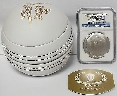2015 New Zealand $1 ICC Cricket World Cup Silver Coin NGC PF 70 ER  - WFC JR774