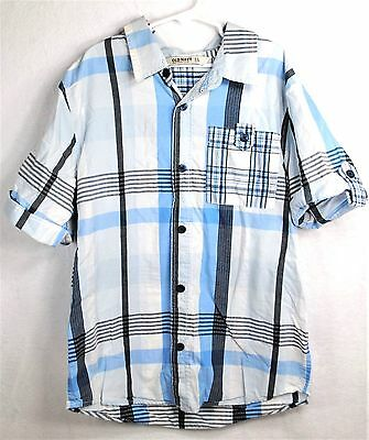 OLD NAVY Boys Spring Summer Blue COTTON Button Up Collar Shirt Top Size Large