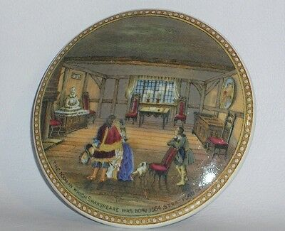 """PRATTWARE POT LID """" THE ROOM IN WHICH SHAKESPEARE WAS BORN """" 19th, Cent.."""