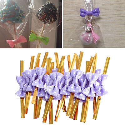 20pcs Metallic Twist Wire Tie Bowknot Candy Cookie Cake Cello Bag Wedding Party