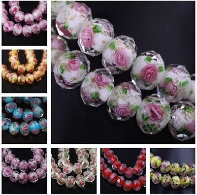 10pcs Charms Rondelle Glass Rose Flower Lampwork Glass Beads 8 10 12mm Free Ship