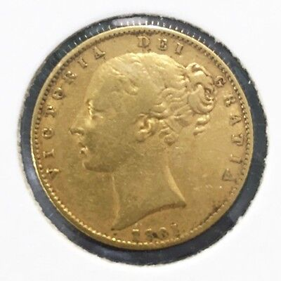 1861 Full Sovereign Queen Victoria Young Head Shield Back VF