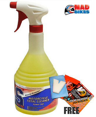 SDOC100 Motorcycle Motorbike Power Gel Total Cleaner Plus Free V2 Visor Cleaner