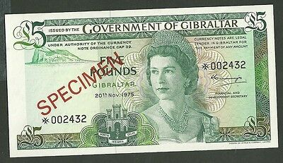 1975 Government of gibraltar 1 and 5 pound currency notes 20a 21a specimen paper