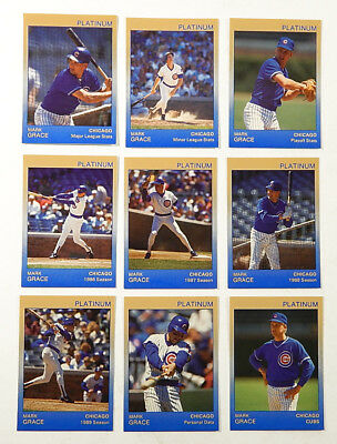 1991 Star Platinum Mark Grace Trading Card Set (9) #'d Out of 1000