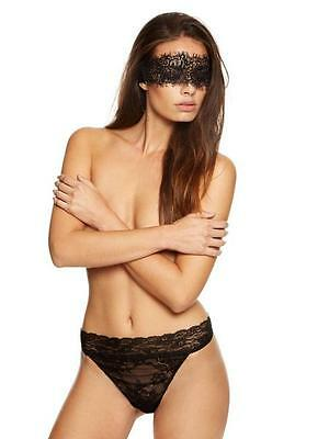 New Ann Summers Black Lace Bow Back Thong & Blindfold Erotic Mask Set Size M £20
