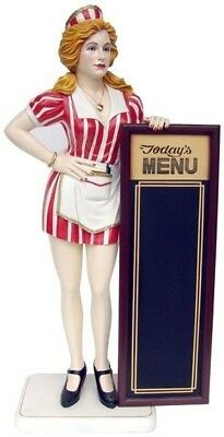 Fifties Waitress Statue Menu Board - 5.5 Ft. - LM Treasures - Free Ship