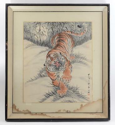 Vintage/antique Chinese Watercolor Of A Roaring Tiger