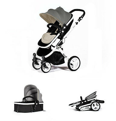 Allis 2in1 Venus Baby Pram Pushchair Buggy Stroller - Travel Carry Cot - Grey