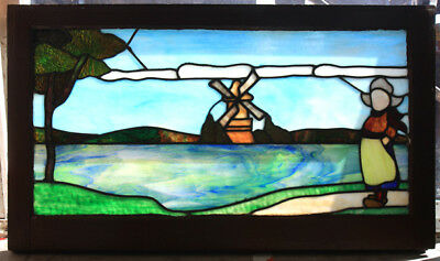 Antique Arts Crafts Old Stain Leaded Glass Window Dutch Landscape Girl Limberts