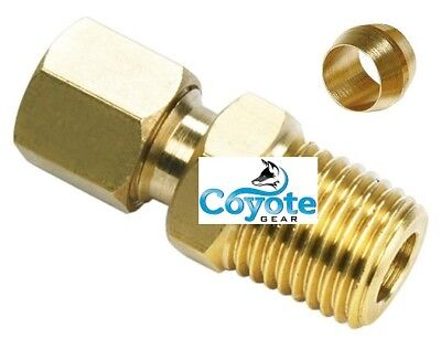 """5 Pack Brass 1/4"""" OD Tube x 1/8"""" NPT Male NPT Pipe Thread Compression Fitting"""