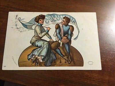 COLUMBIA  University F. Earl Christy Signed Antique 1910 FOOTBALL Postcard