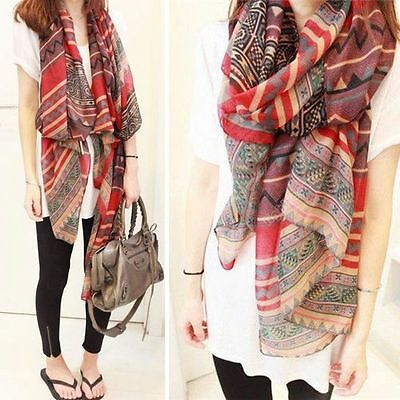 Lady Red Vintage Womens Long Soft Cotton Voile Print Scarves Shawl Wrap Scarf
