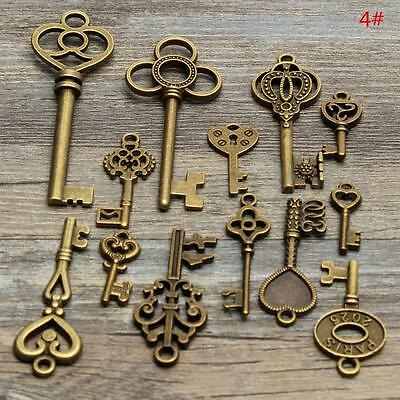 13x Retro Antique Vintage Old Look Skeleton Key Pendant Heart Bow Lock Steampunk