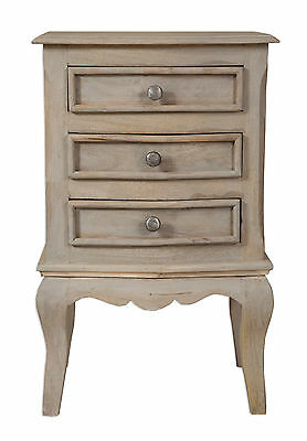 Loire French Grey/3 Drawer Bedside Cabinet Fully Assembled