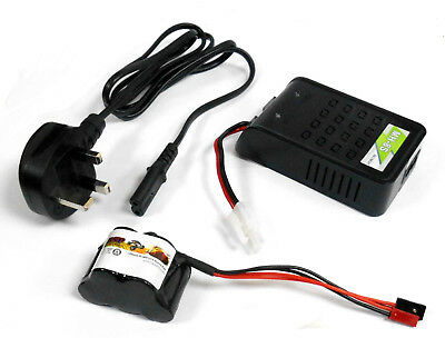 RC Receiver 1200mah 6v Battery Pack and Charger Compatible JR JST Hump 5 Cell