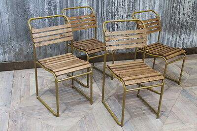 Gold Framed Stacking Vintage Oak Slatted Seat Chairs Large Quantity Available