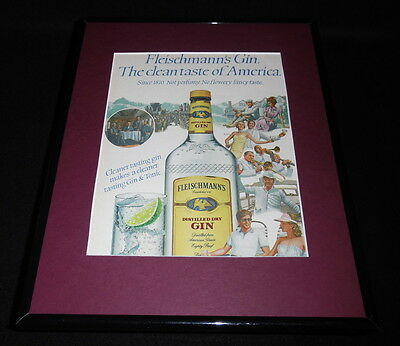 1984 Fleischmann's Gin Framed 11x14 ORIGINAL Vintage Advertisement B