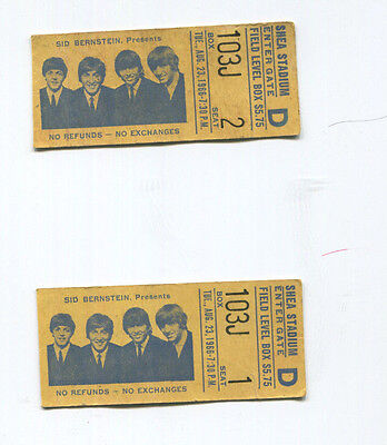 The Beatles Pair Of Ticket Stubs Consecutive Seats! August 23, 1966 Shea Stadium