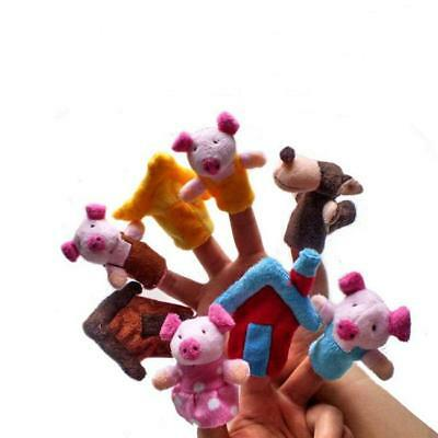 8X Three little Pigs Story Family Finger Puppets Doll Baby Hand Toy Kids Gift LA