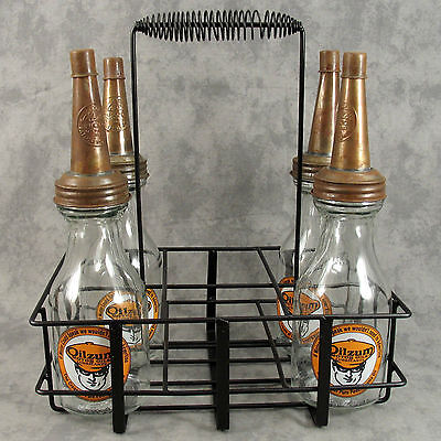 Set Of 4 Oilzum Motor Oil Quart Glass Bottles & Metal Carrier Display Rack