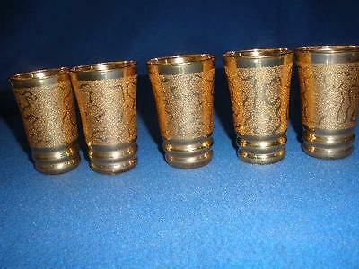 Retro Vintage Gold Patterned Glass Sherry Glasses X 5 Czechoslovakia