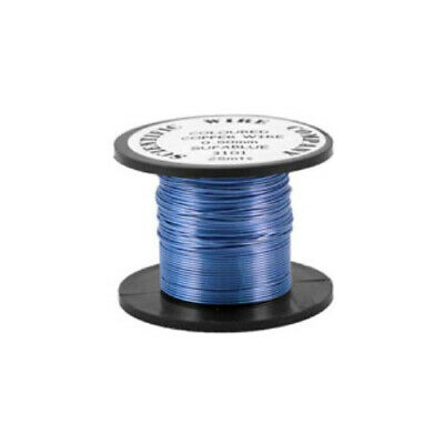 1 x Pale Blue Plated Copper 0.9mm x 5m Round Craft Wire Coil W3101
