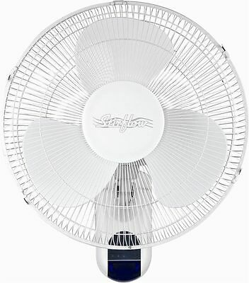 """New Stirflow Air Cooling 16"""" White Wall Remote Control Fan 3 Speed Mains SWFR16"""