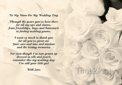 A4 POEM TO My Mum on my Wedding Day - Mother of the Bride Wedding Thank You