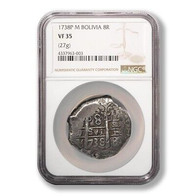 Bolivia 1738P M. Potosi Mint 8 Reales graded by NGC