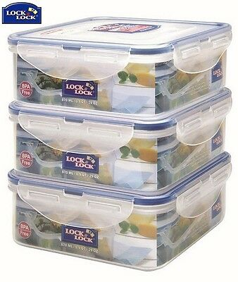 Lock And Lock Square Container 870Ml Set Of 3 Storage Home Kitchen New