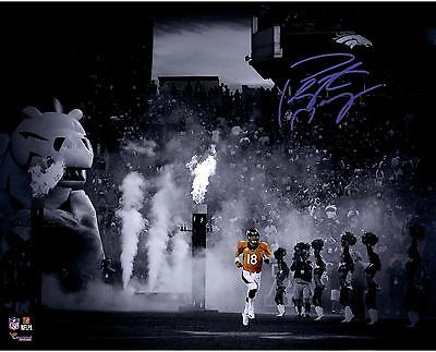 "Peyton Manning Denver Broncos Autographed 16"" x 20"" Spotlight Running Photograph"