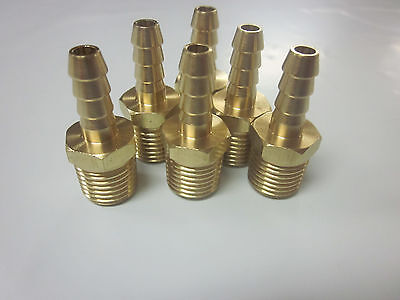 """Lot Of 6 Solid Brass 1/4"""" Npt Air Hose Repair Fitting Splicer Barb Fits Bb-7308"""