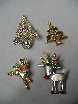 "Christmas 2 Tree Pins 2.75""-1.75"" & 2 Reindeer Pins 2.25""-1.75"" Tall"