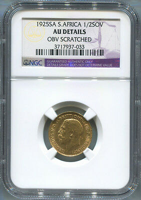 1925-SA S.Africa, Half Gold Sovereign. NGC AU Details