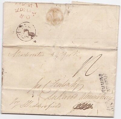 * 1836 Stamp Office Letter London Misdirected To York Huddersfield Penny Post
