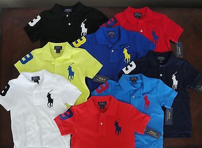 NWT Ralph Lauren Toddler Boys SS Big Pony Solid Mesh Polo Shirt Sz 2/2t 3/3t NEW