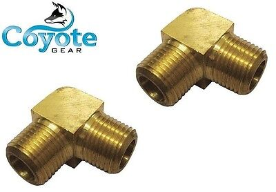 "2 Pack Lot: 3/8"" NPT 90 Degree Elbow Male Brass Pipe Thread Fitting Coyote Gear"