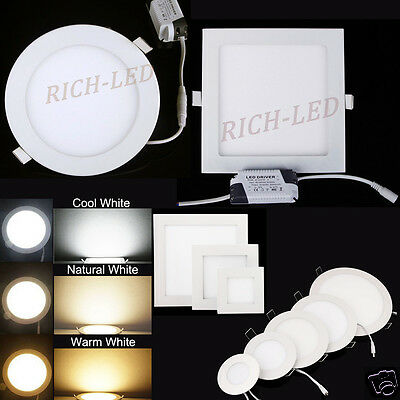 9W 12W 15W 18W 24W Dimmable Cree LED Recessed Ceiling Panel Down Light AC85-265V