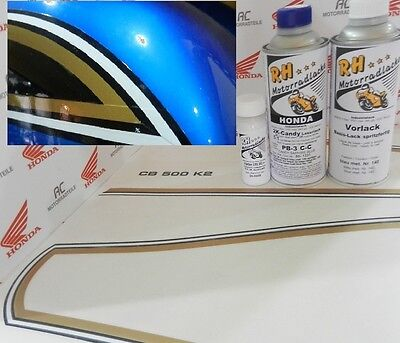Honda CB 500 Four K2 Color Paint kit Candy Saphire Blue + Decal Stripes Fueltank