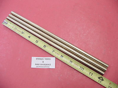 "3 Pieces 3/8"" C360 BRASS SOLID ROUND ROD 12"" long New Lathe Bar Stock .375"""