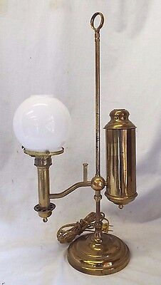 Antique Brass Single Arm Electrified STUDENT OIL LAMP Complete w/ Shade