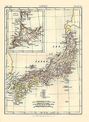 1873 Color Map of the EMPIRE of JAPAN - Great Detail - Inset of Yezo Island