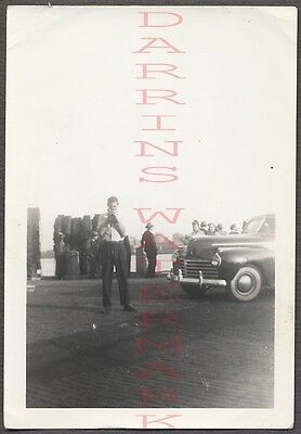 Vintage Car Photo Man w/ Snapshot Camera & 1941 Chrysler Automobile 664631