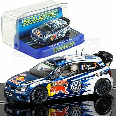 Scalextric Volkswagen Polo R WRC Red Bull Rally Carlo 2015 1/32 Slot Car C3744