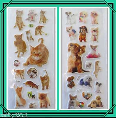 Pack of Cat/Kitten OR Dog/Puppy Puffy Stickers - For Craft, Scrapbooking & Cards