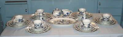 36-Piece BLUE DANUBE DINNER SERVICE, Six 5-Pc Settings + Platter, Cr&Sug & S&P