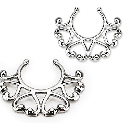Pair of Small Vintage Hearts Clip On Non Piercing Nipple Rings Shields